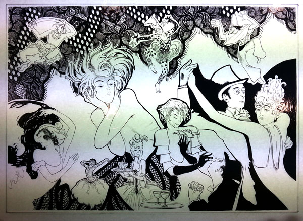 Enamel Glass Panel CABARET 線描