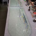 青山ケンネル・アートグラス 無事、スッパリと切断することが出来ました