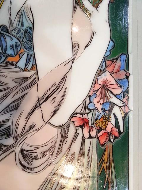 20140206_Primrose 手元の花のエナメル絵付けステンドグラス