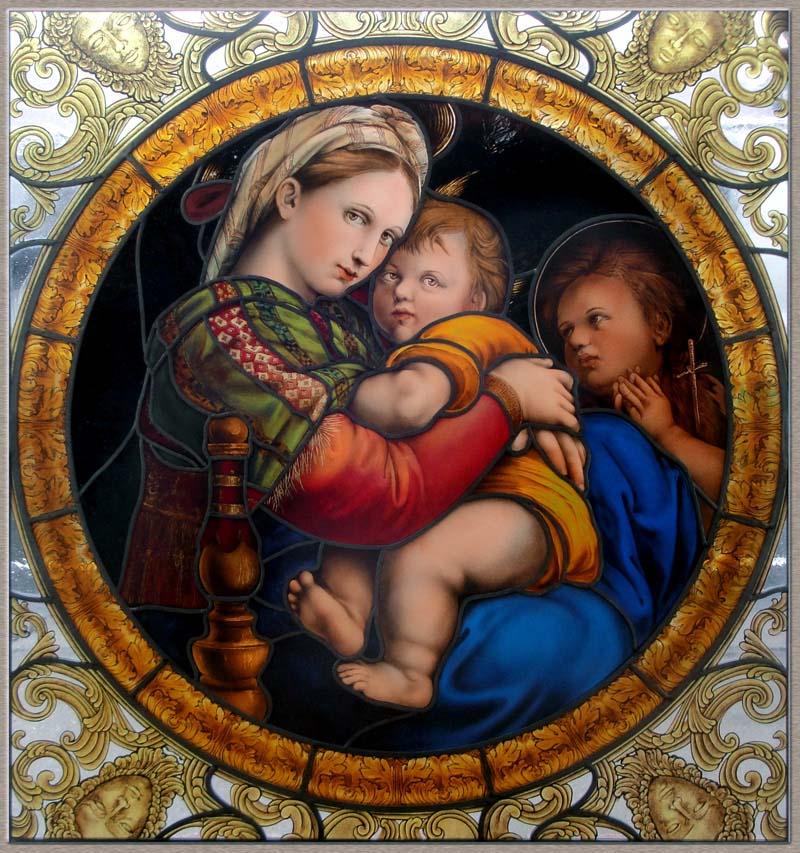 ラファエロ・『小椅子の聖母』ステンドグラス絵付け パネル組・終了 Blog Vis 224 Vis Maya