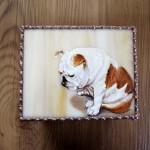 モティーフ:E.Bulldog DON 一部:t1.5 銅板 JEWEL OF A TREASURE. 刻印入り 横10cm×縦8cm×高さ5.5cm Full custom made system Stained Glass Box : DOMUCA Design No.1