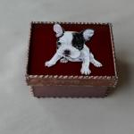 モティーフ:F.Bulldog Gabriel 一部:t1.5 銅板 MY TREASURE. 刻印入り 横10cm×縦8cm×高さ5.5cm Full custom made system Stained Glass Box 01
