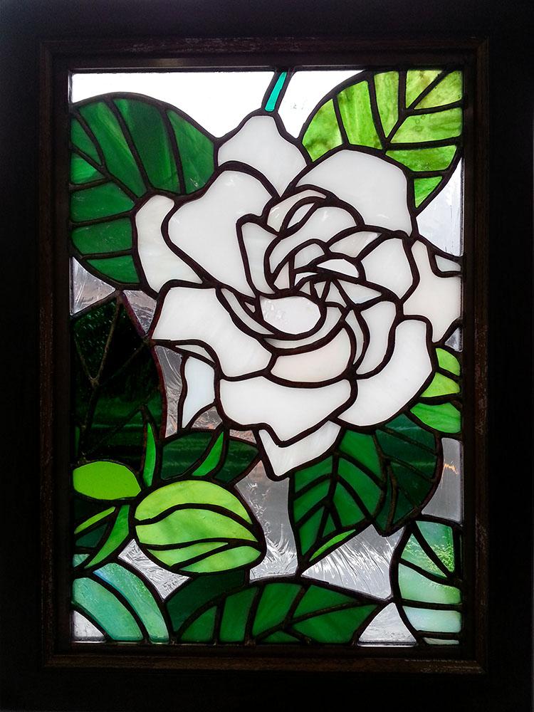 くちなしの花のステンドグラス・ミニパネル