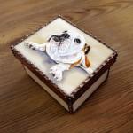 モティーフ:E.Bulldog PURIN 一部:t1.5 銅板 刻印入り 横10cm×縦8cm×高さ5.5cm Full custom made system Stained Glass Box : DOMUCA Design No.2