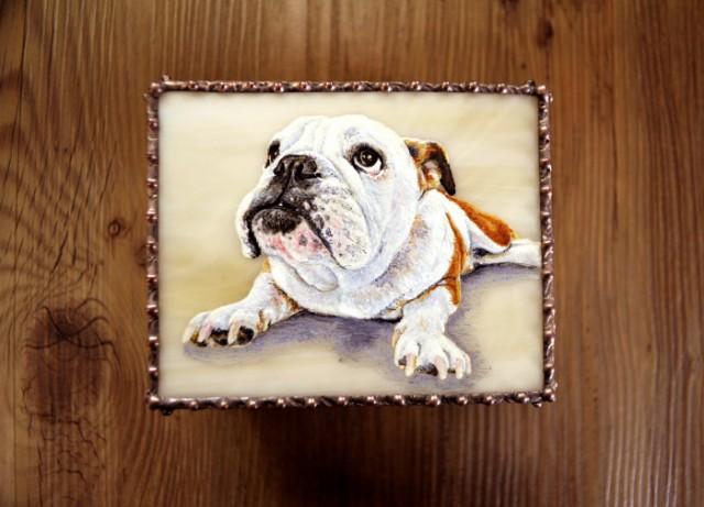 モティーフ:E.Bulldog PURIN 一部:t1.5 銅板 刻印入り 横10cm×縦8cm×高さ5.5cm Full custom made system Stained Glass Box : DOMUCA Design No.1
