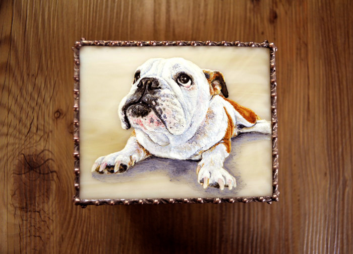 モティーフ:E.Bulldog PURIN 一部:t1.5 銅板 刻印入り 横10cm×縦8cm×高さ5.5cm Full custom made system Stained Glass Box : DOMUCA Design No.1
