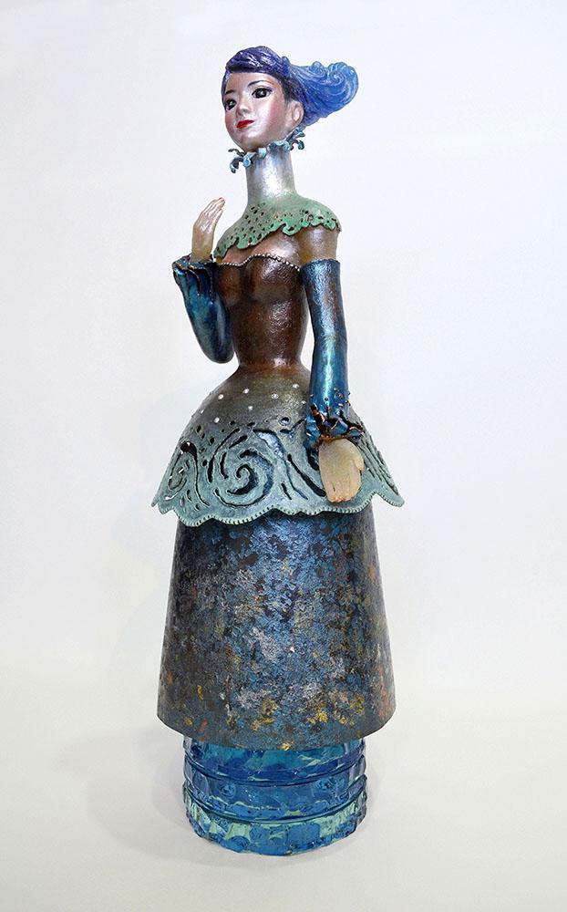 蒼海:Deep Blue Sea 2012 銅、ガラス、金属箔粉 W200 × D200 × H550 mm (C) Maya's 鍛金・ガラス造形作家 若林真耶