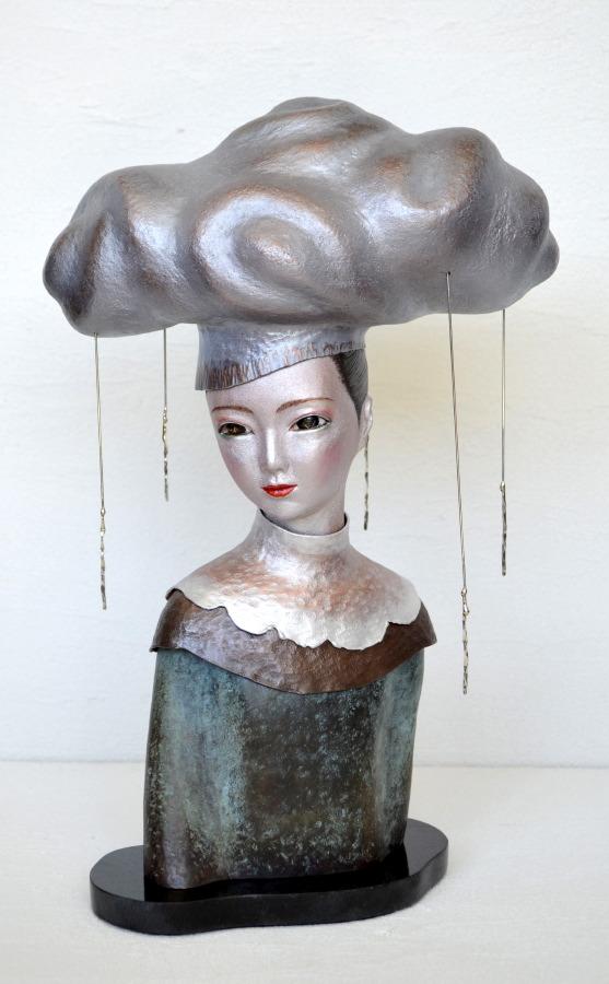 雨に想ふ:Feeling You in the Rain 2012 銅、銀、ステンレス、ガラス、金属箔粉 W225 × D130 × H330 mm (C)Maya's 鍛金・ガラス造形作家 若林 真耶