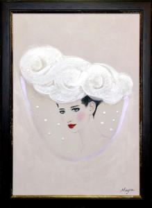 あわゆき 2013 OAサイズ A3 額装 ボードにアクリル / Light Snowfall 2013 size:A3 framed acrylic on board 若林真耶・Maya Wakabayashi