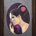 紅月 2013 OAサイズ A4 額装 ボードにアクリル / Red Moon 2013 size:A4 framed acrylic on board 若林真耶・Maya Wakabayashi