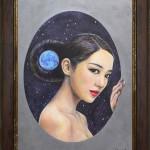 蒼月 2013 OAサイズ A4 額装 ボードにアクリル / Blue Moon 2013 size:A4 framed acrylic on board 若林真耶・Maya Wakabayashi