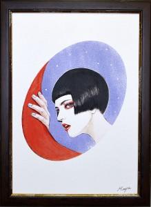 逢魔が刻 2013 OAサイズ A3 額装 ボードにアクリル / Twilight 2013 size:A3 framed acrylic on board 若林真耶・Maya Wakabayashi