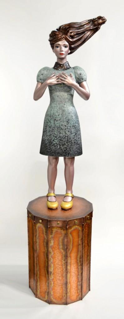 光明:Bright Future 頌栄女子学院中学校・高等学校 創立130周年記念モニュメント 2014 銅、ガラス、金属箔粉:copper, glass, metal foil & powder  W450×D450×H1850 mm (C)Maya's 鍛金・ガラス造形作家 若林 真耶:Metal & Glass Artist Maya Wakabayashi