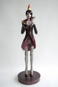 悋気 Jealousy 2014 銅、ガラス、金属箔粉 copper, glass, metal foil, metal powder H720× W250 × D250 mm Maya's 鍛金・ガラス造形作家 若林 真耶 Metal & Glass Artist Maya Wakabayashi001