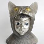 Cat・びっくり Surprised Cat 2015 ガラス、錫 glass, tin W110 × D85 × H135 mm Maya's 鍛金・ガラス造形作家 若林 真耶 Metal & Glass Artist Maya Wakabayashi