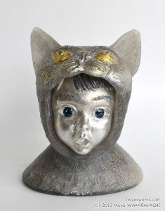 Cat・びっくり Surprised Cat 2015 ガラス、錫 glass, tin W110 × D85 × H135 mm Maya's 鍛金・ガラス造形作家 若林 真耶 Metal & Glass Artist Maya Wakabayashi