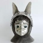 Rabbit・寂しがり屋 Lonely Rabbit 2015 ガラス、錫 glass, tin W90 × D100× H150 mm Maya's 鍛金・ガラス造形作家 若林 真耶 Metal & Glass Artist Maya Wakabayashi