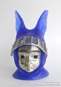 Blue Rabbit・おすまし 2015 ガラス、錫 glass, tin W90 × D105 × H150mm Maya's 鍛金・ガラス造形作家 若林 真耶 Metal & Glass Artist Maya Wakabayashi