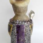招き猫・おませ Manekineko 2015 ガラス、銅、錫、金属箔粉 glass, copper, tin, metal foil, metal powder W160 × D135 × H300 mm Maya's 鍛金・ガラス造形作家 若林 真耶 Metal & Glass Artist Maya Wakabayashi