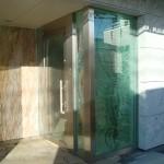 玄関部・積層ガラスとアートグラス