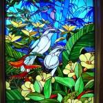 金子邸・鳥のステンドグラスパネル01