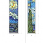 Goghの絵画から  最終決定の図案  《小出邸 ゴッホ・糸杉のステンドグラス》  東村山市