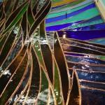 《小出邸 ゴッホ・糸杉のステンドグラス》ガラスの間には真鍮のフラットバーを仕込んで補強しています