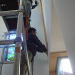 《小出邸 ゴッホ・糸杉のステンドグラス》右側のステンドグラス、仮留め