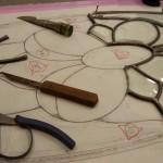 作り直した面取りガラスをケイム組します。