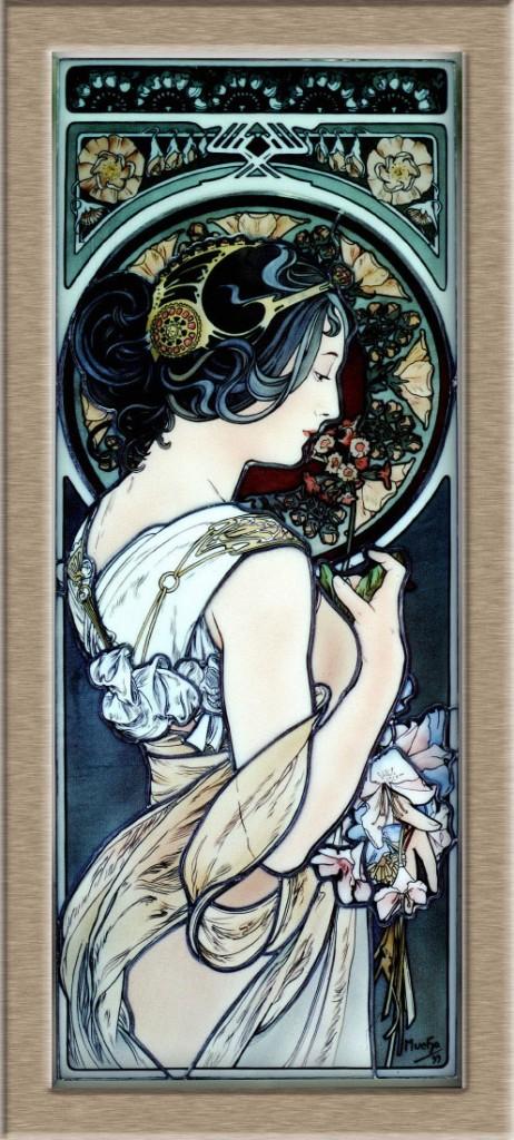 Primrose Mucha・エナメル絵付けステンドグラス