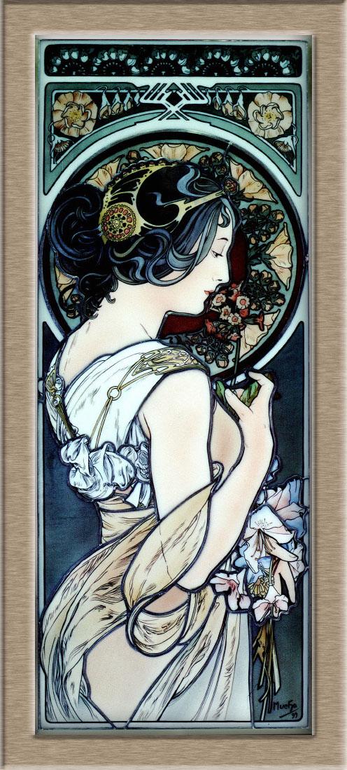Mucha 桜草  W403 x H1000 家具のためのエナメル絵付けステンドグラスパネル オパールセントグラスを使用。