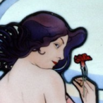 Carnation・ミュシャエナメル絵付けステンドグラスパネル