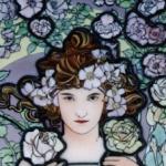 Rose・ミュシャエナメル絵付けステンドグラスパネル
