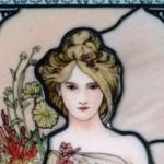 Spring(1900)・ミュシャエナメル絵付けステンドグラスパネル