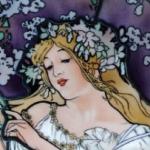 Spring・ミュシャエナメル絵付けステンドグラスパネル