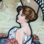 Summer(1900)・ミュシャエナメル絵付けステンドグラスパネル