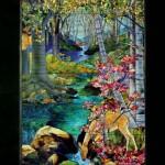 高倉 健 邸 ステンドグラス  W1115 x H2215  ヘレン・グールドの風景のウインドー Louis Comfort Tiffany No.1