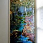 高倉 健 邸 ステンドグラス  W1115 x H2215  ヘレン・グールドの風景のウインドー Louis Comfort Tiffany No.2