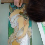 Mucha・桜草 ステンドグラス・エナメル絵付け フリースタイルWorkshop-011