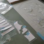 ベベルグラスのステンドグラスパネル・フリースタイルWorkshop005
