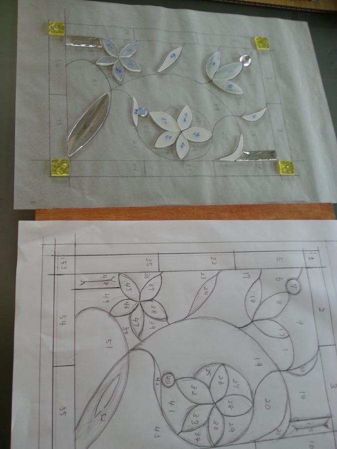 ベベルグラスのステンドグラスパネル・フリースタイルWorkshop006