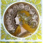 20130826__Mucha_Zodiac_workshop_008 中央の丸が焼きあがった状態、周りのボーダーにはシルバーステインが施されています。