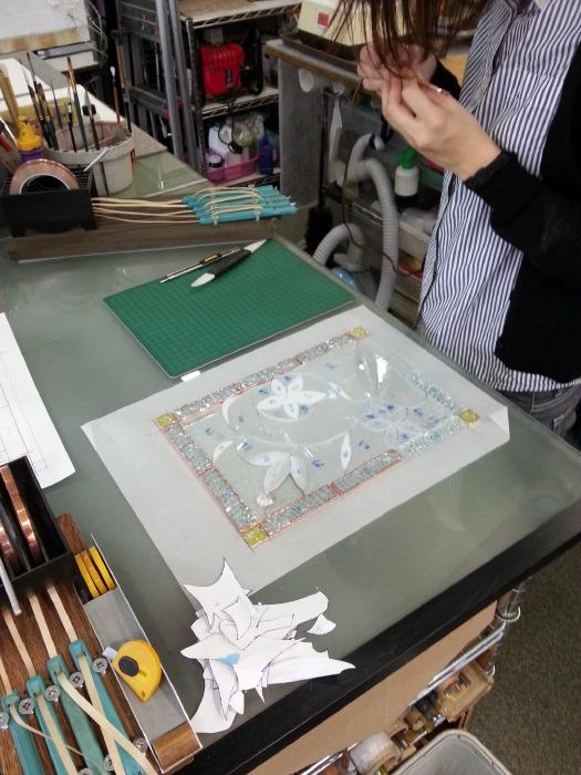 ベベルグラスのステンドグラスパネル・フリースタイルWorkshop008