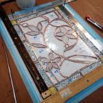 ベベルグラスのステンドグラスパネル・フリースタイルWorkshop010
