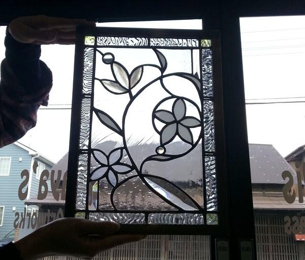 ベベルグラスのステンドグラスパネル・フリースタイルWorkshop013