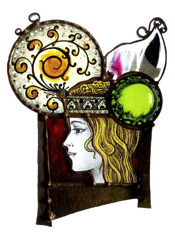 髪飾りの女、絵付けのステンドグラス 2013_Hair_ornaments_Lady_005