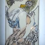 ミュシャ・桜草のステンドグラス 線描