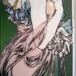 ミュシャ・桜草のステンドグラス 背景のエナメル彩色。