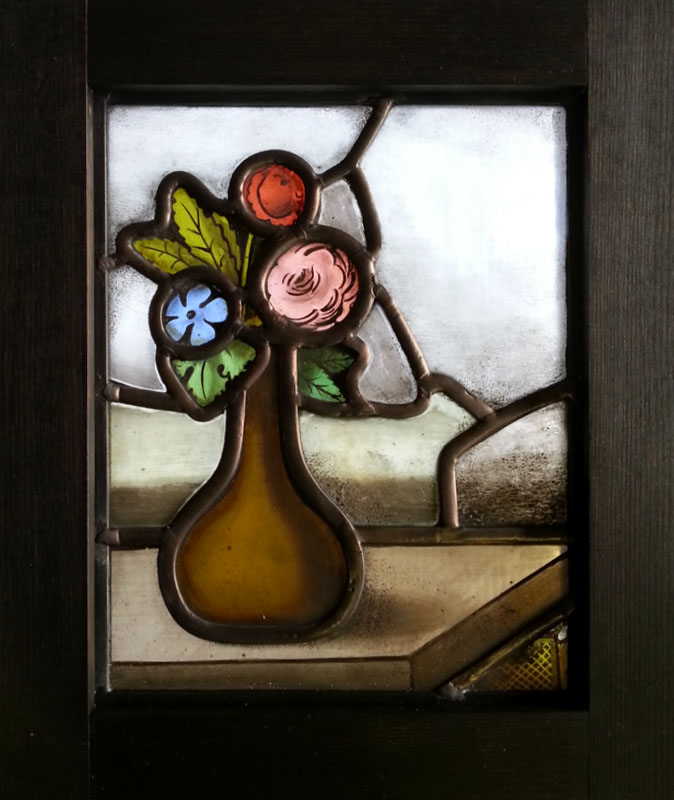 FLOWER_stained_glass グリザイユ絵付け・花のステンドグラス