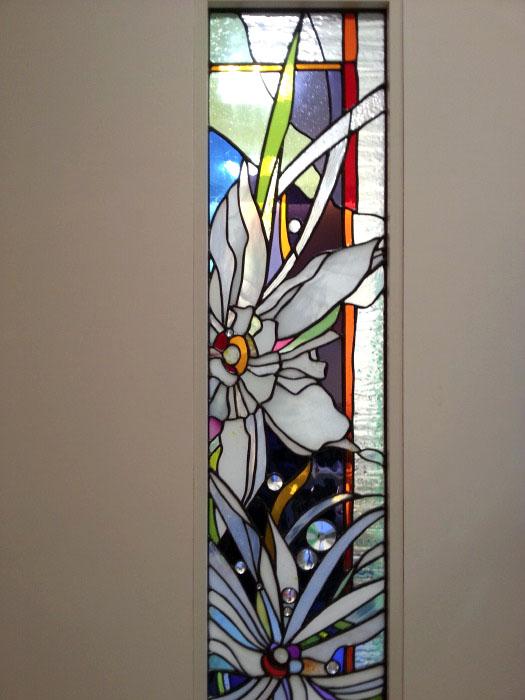 アルカディア歯科・町田 ステンドグラス、診療室ドア ステンドグラスのディテール